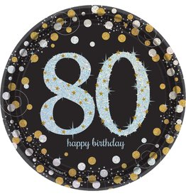 """80th Birthday Gold and Black 9"""" Dinner Plates, 8ct"""