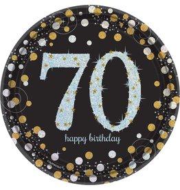 "70th Birthday Dessert Plates 8ct, 7"""