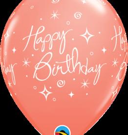 """Happy Birthday"" Coral Pink Printed 12"" Latex Singles"