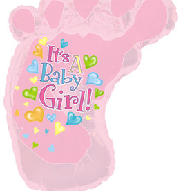 """""""It's a Baby Girl!"""" Foot Foil Balloon 34"""""""
