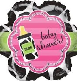 """""""Baby Shower!"""" Pink Cow Print Foil Balloon 18"""" (Clearance)"""