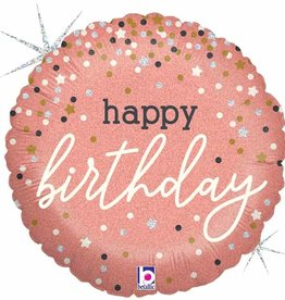 "Rose Gold 'Happy Birthday' Confetti Printed 18"" Foil Balloon"