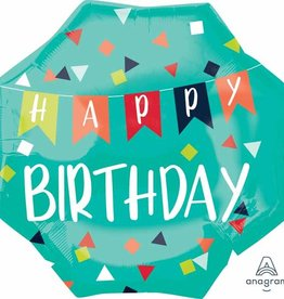 """Large Teal Banner 'Happy Birthday' 22"""" Foil Balloon"""