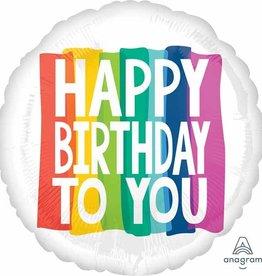 "Large Rainbow Wishes 'Happy Birthday' 32"" Foil Balloon"