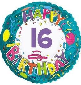 "Happy 16th Birthday Foil Balloon 18"""
