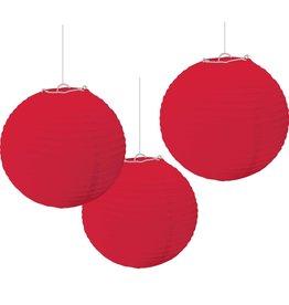 """Red Paper Lanterns, 9.5"""", 3 pk"""