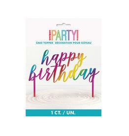 Plastic Metallic Rainbow Happy Birthday Cake Topper