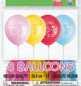 "Peppa Pig 12"" Latex Balloons, 8ct"