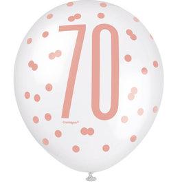 Rose Gold 'Happy 70 Birthday' Latex Balloon 6pk