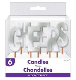 "Silver Metallic 4"" Cheers Wax Candle"
