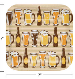 """Beer Printed 7"""" Square Plates, 8ct"""