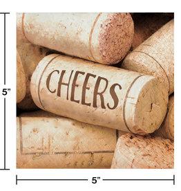 'Cheers' Cork Printed Napkins, 16ct