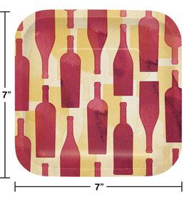 """Wine Bottle Printed 7"""" Square Plates, 8ct"""