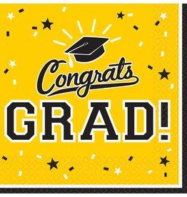 Yellow Congrats Grad Beverage Napkins 36ct