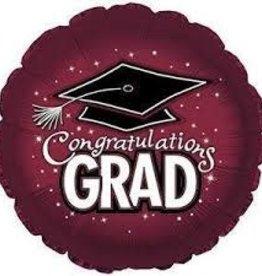 "Burgundy ""Congratulations Grad"" with Black Hat, 18"" Foil Balloon"