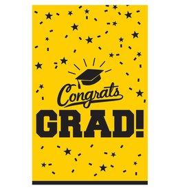 """Yellow """"Congrats Grad !"""" Plastic Rectangular Tablecloth 54"""" x 84"""""""