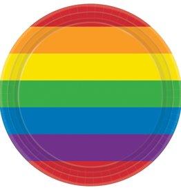 "Rainbow Printed 7"" Round Plates, 8ct"