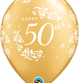 """Gold Pearlized 50th Anniversary 12"""" Latex Singles"""