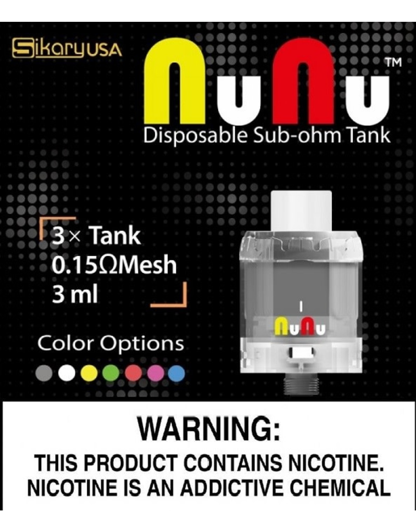 SikaryUSA NuNu Disposable 3ML 24mm Sub-Ohm Tank - Pack Of 3