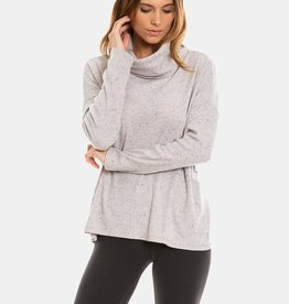 dylan fuzzy flecked fleece cowl neck top