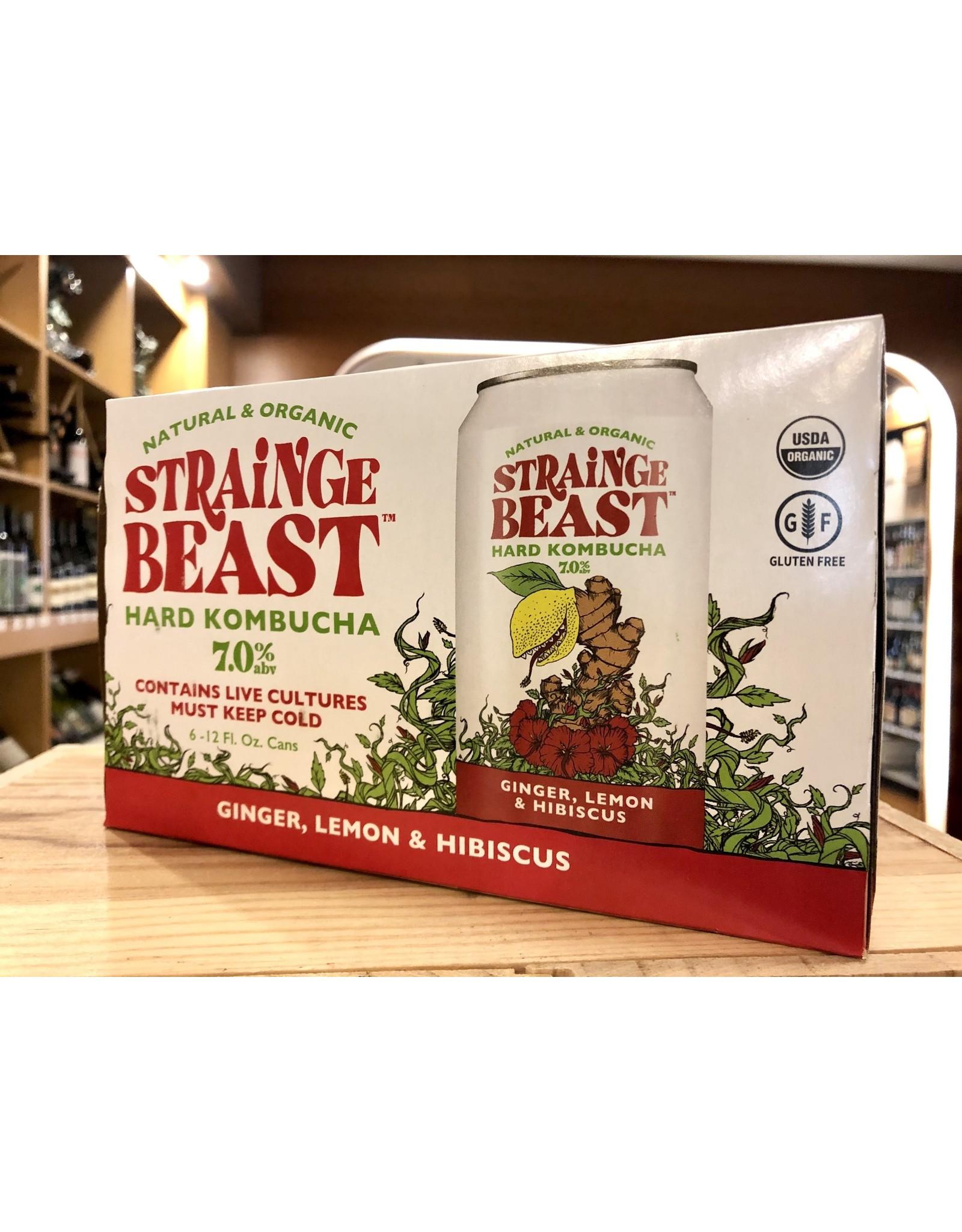Strainge Beast Ginger, Lemon & Hibiscus Hard Kombucha - 6x12 oz.