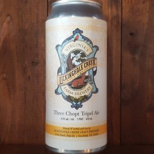 Lickinghole Creek Craft Brewery Three Chopt Tripel Ale, 9.3% ABV, 16oz Can