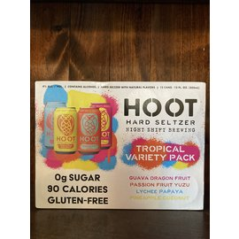 Night Shift Hoot Hard Seltzer Tropical Variety Pack, 12oz 12 Pack Can
