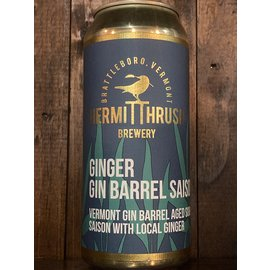 Hermit Thrush Ginger Gin Barrel Saison Wild Ale, 6.5% ABV, 16oz Can