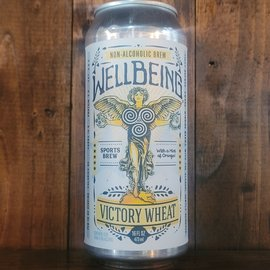 Wellbeing Victory Wheat, less than 0.5% ABV, 16oz Can
