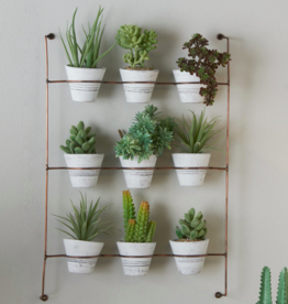 Copper Wall Rack with Whitewash Clay Pots