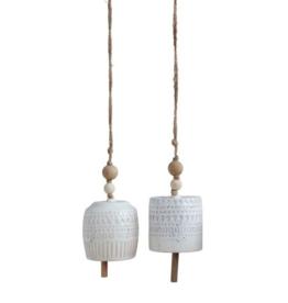 White Hanging Stoneware Bell