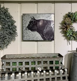 Galvanized Metal Cow Wall Plaque