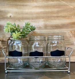 Trio of Mason Jars with Metal Stand