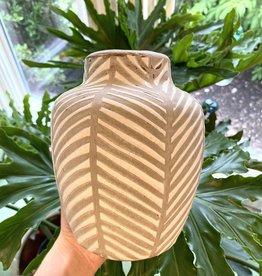 Grey & White Striped Vase
