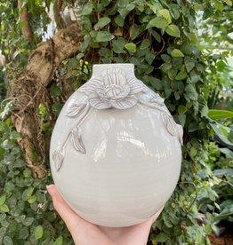 White Terra Cotta Vase with Handmade Flower