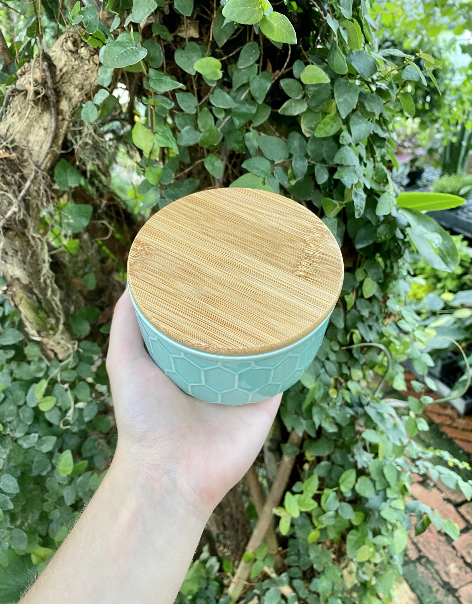 Blue Honeycomb Canister with Bamboo Lid