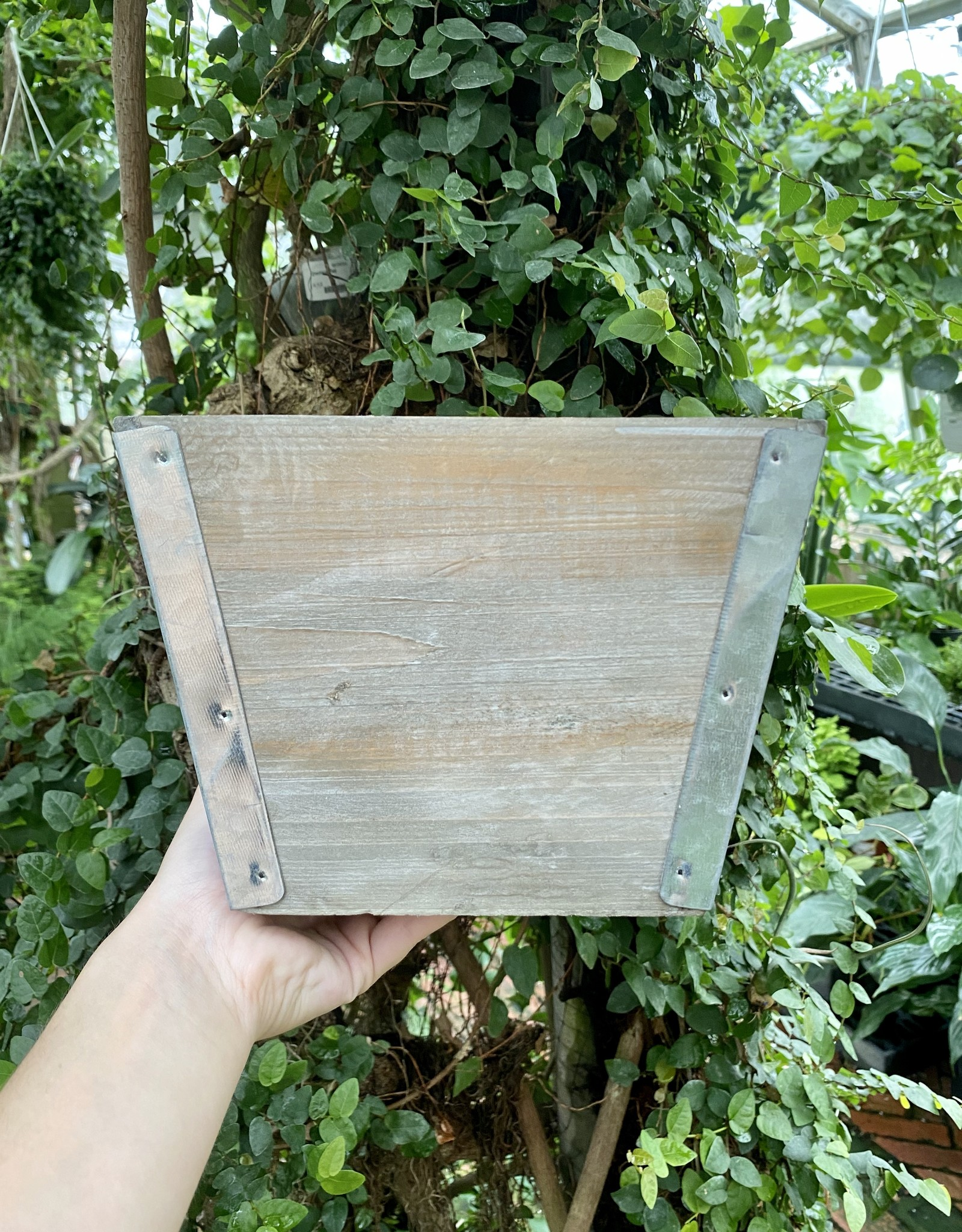 Wooden Planter with Tin Corners