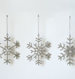 Silver Beaded Snowflake Ornaments