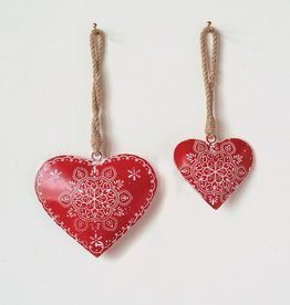 Hand-Painted Metal Heart Ornaments