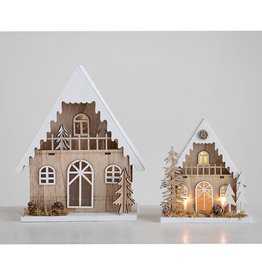Wooden Cottage with LED Lights
