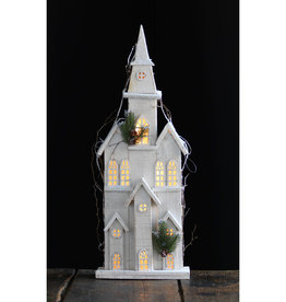 White Pre-Lit Wooden Church, 27""