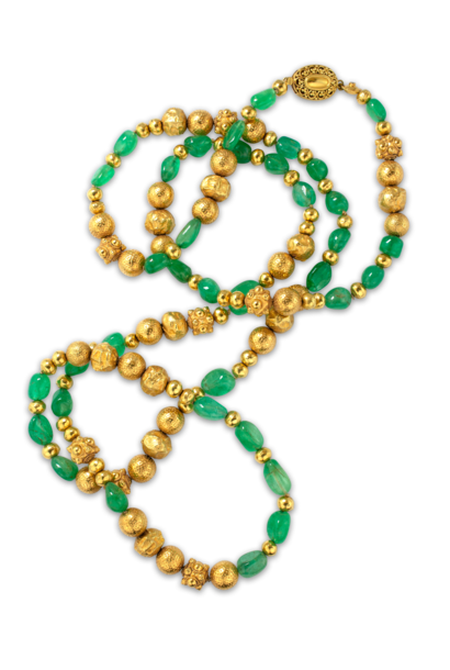 Gold and Colombian Emerald Necklace  - 45""
