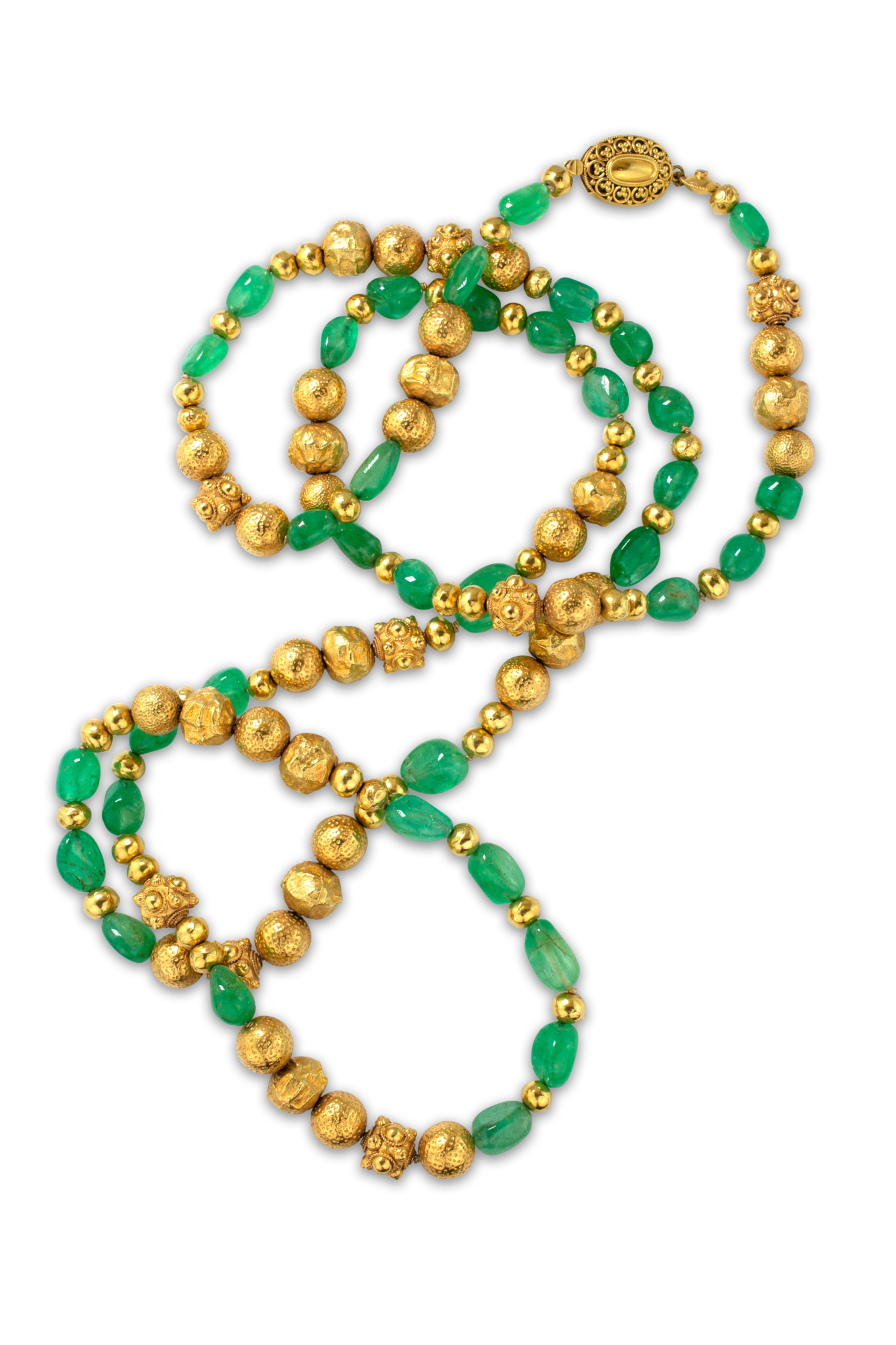"Gold and Colombian Emerald Necklace  - 45""-1"