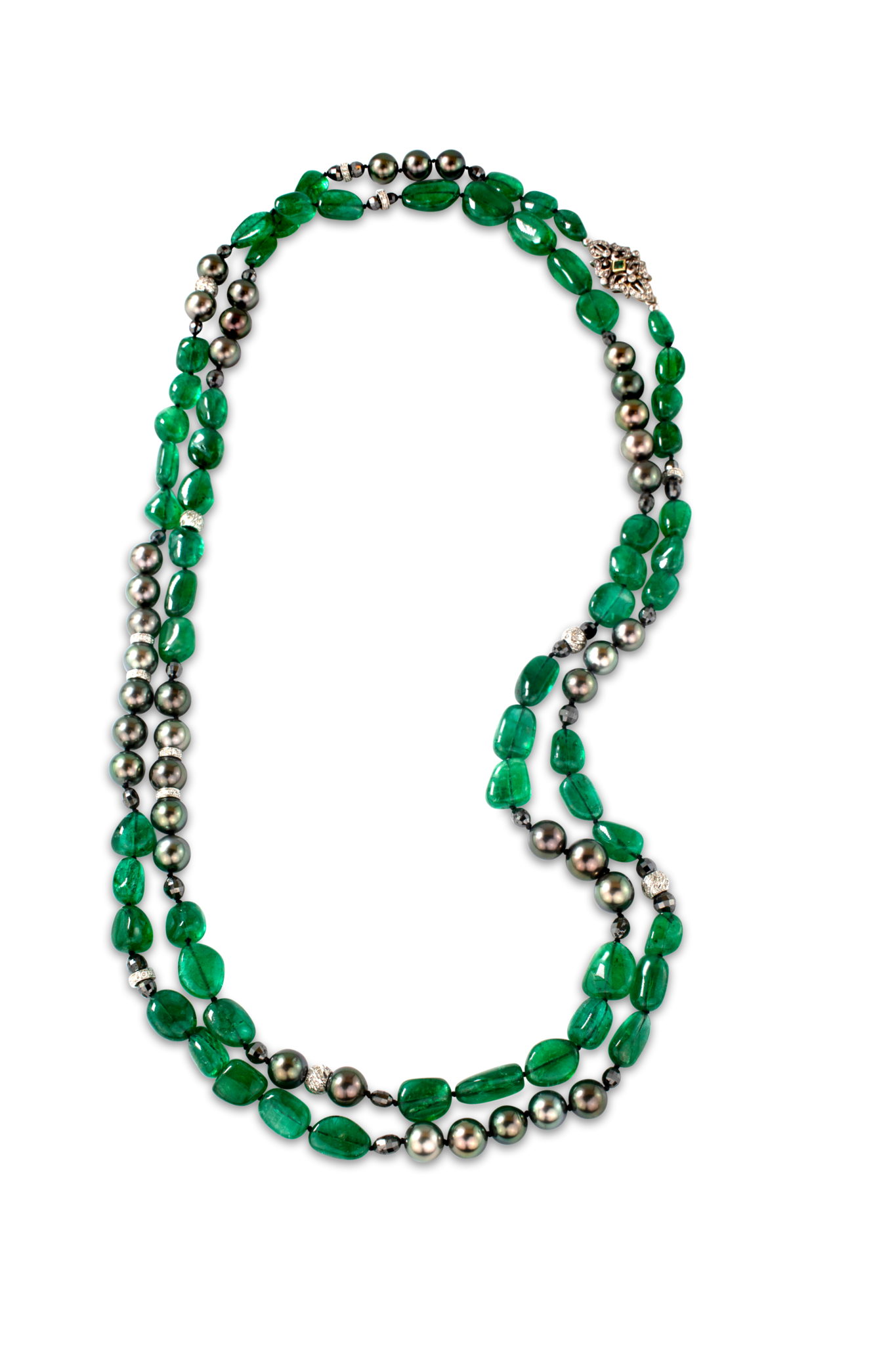 Emerald and Tahitian Pearl Necklace-2