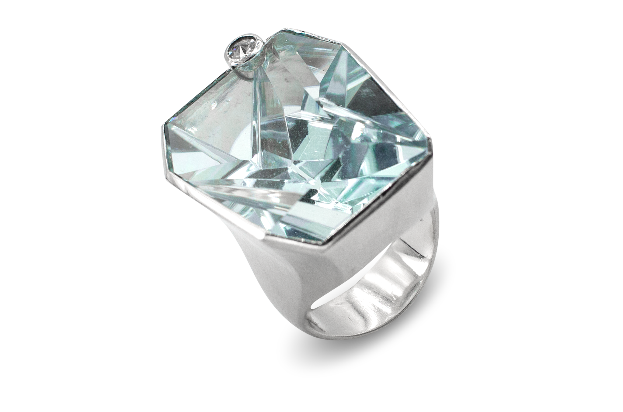 Aquamarine & Diamond Ring-1