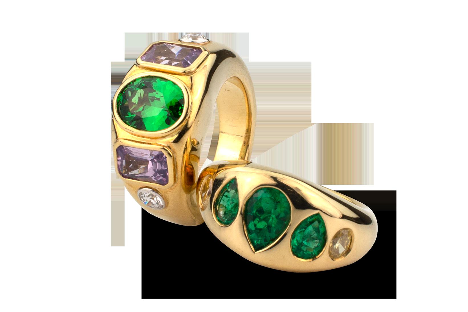 Tsavorite, Lavender Spinel &  Diamond Ring-4