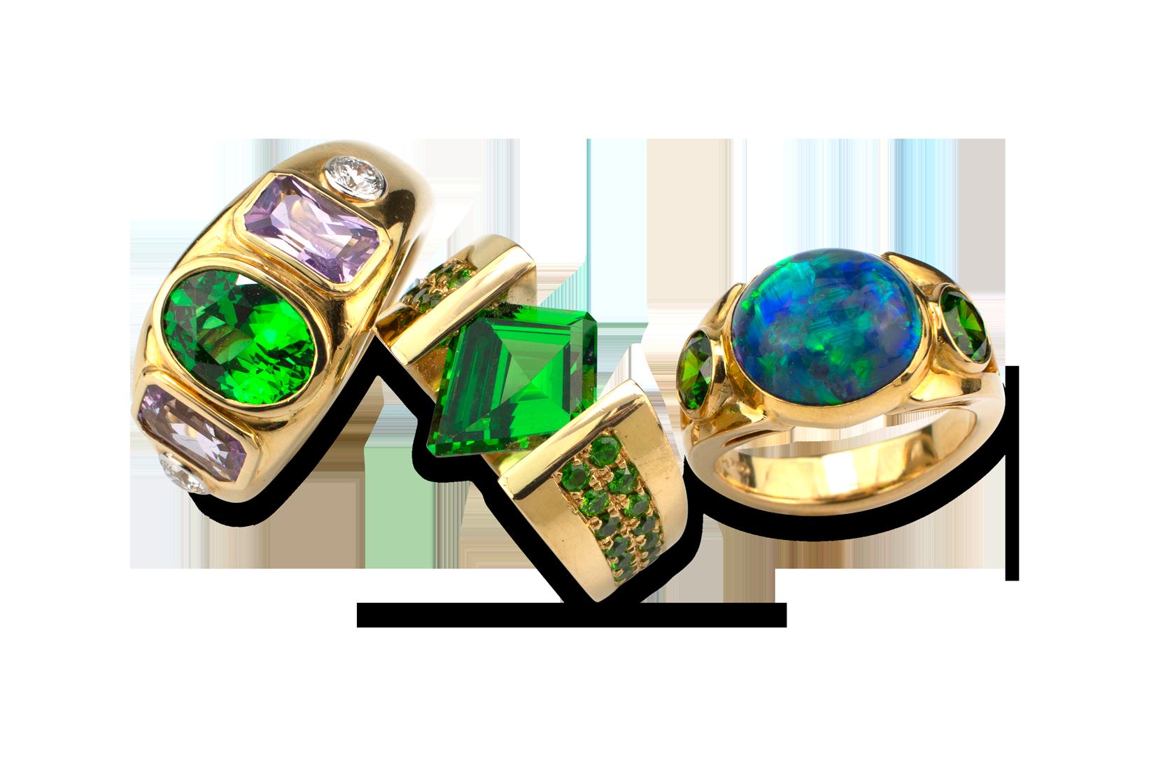 Tsavorite, Lavender Spinel &  Diamond Ring-5