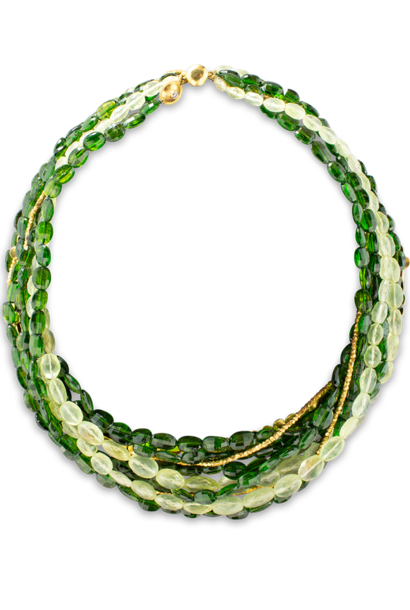 Chromium Diopside, Prehnite and Gold Multi-Strand Torsade Necklace