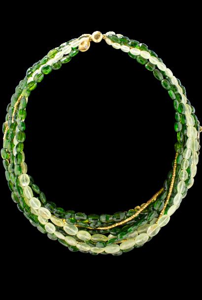 Chromium Diopside, Prehnite and Gold Multi-Strand Torsade Necklace
