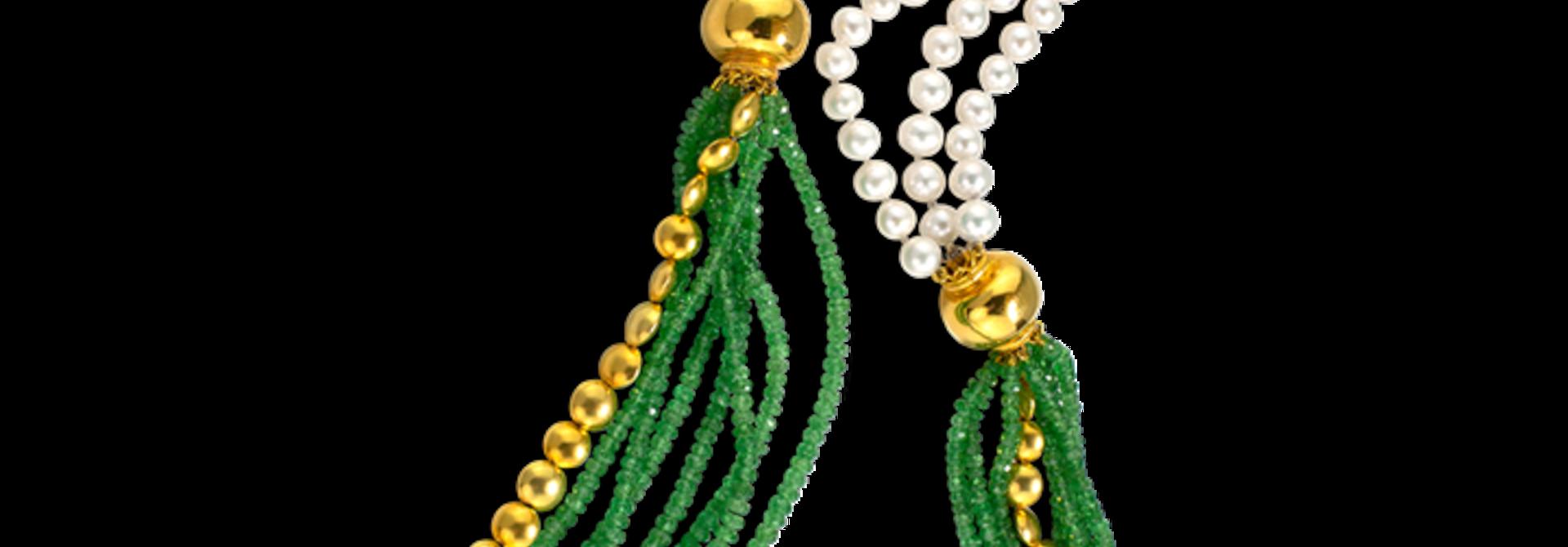 "Tsavorite Garnet & Chinese Freshwater White Pearls Necklace - 34"""
